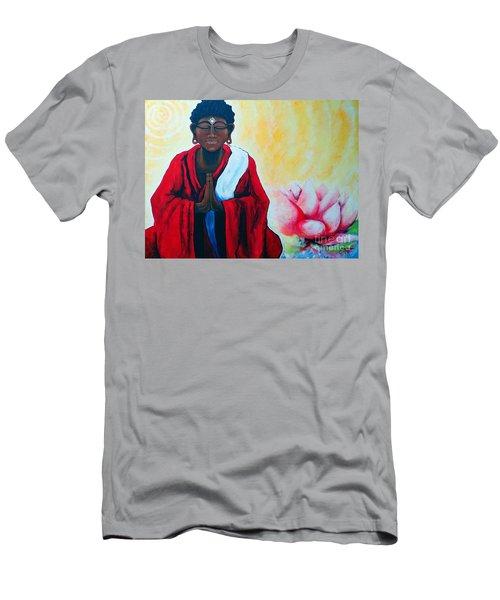 Red Buddha Lotus Men's T-Shirt (Slim Fit) by Jackie Carpenter
