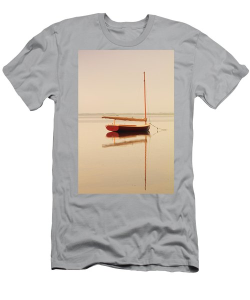 Red Catboat On Misty Harbor Men's T-Shirt (Athletic Fit)