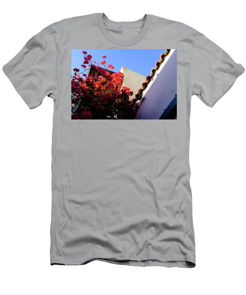 Red Flowers And Architecture In Saint Augustine Florida Men's T-Shirt (Athletic Fit)