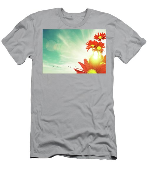 Men's T-Shirt (Slim Fit) featuring the photograph Red Flowers Spring by Carlos Caetano