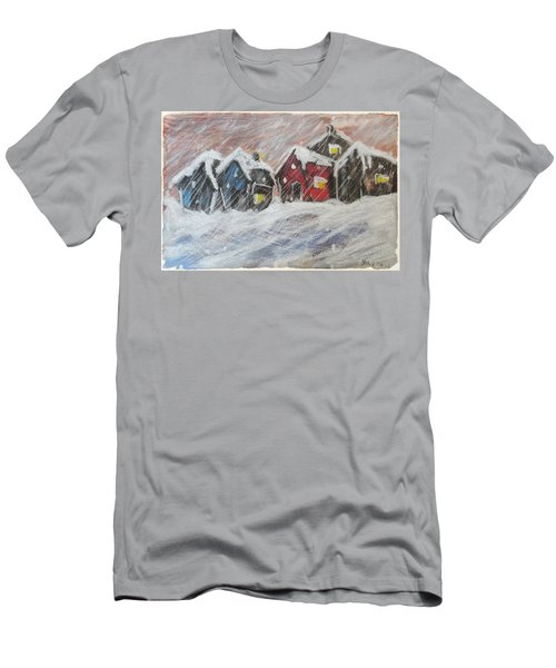 Red House In The Snow Men's T-Shirt (Athletic Fit)