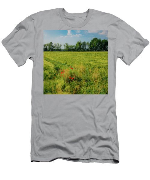 Red Poppies On A Green Wheat Field Men's T-Shirt (Athletic Fit)