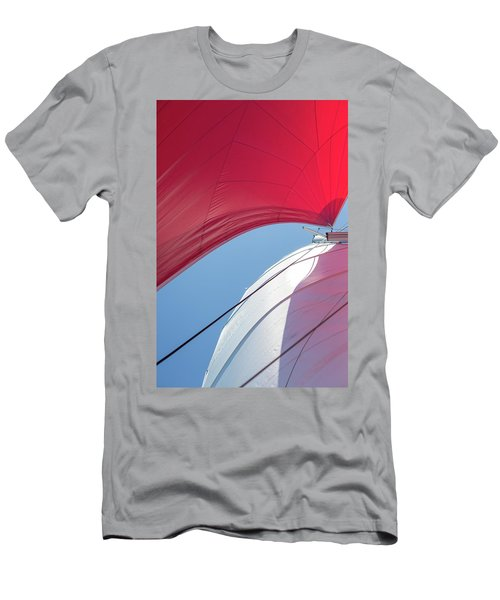 Men's T-Shirt (Athletic Fit) featuring the photograph Red Sail On A Catamaran 4 by Clare Bambers