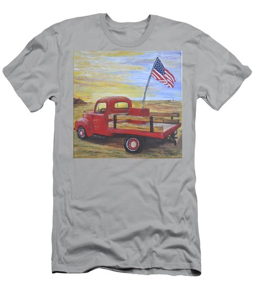 Men's T-Shirt (Slim Fit) featuring the painting Red Truck by Debbie Baker