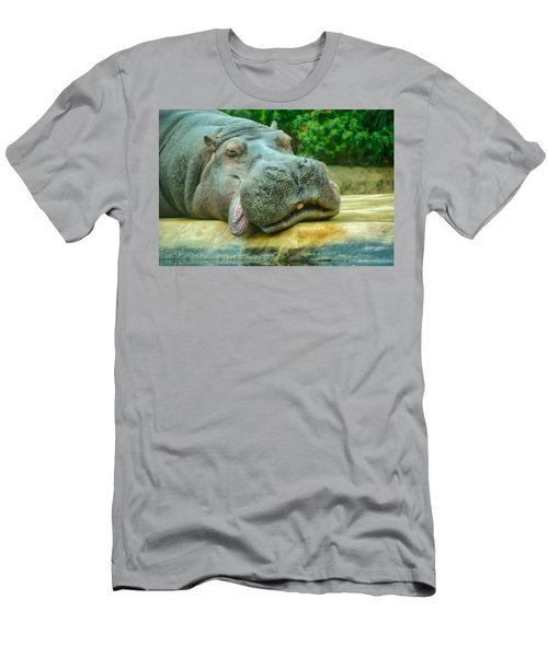 Relaxing Hippo Men's T-Shirt (Athletic Fit)