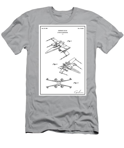 Restored Original Patent Drawing For The T-65 X-wing Starfighter Toy Figurine From Star Wars Men's T-Shirt (Athletic Fit)