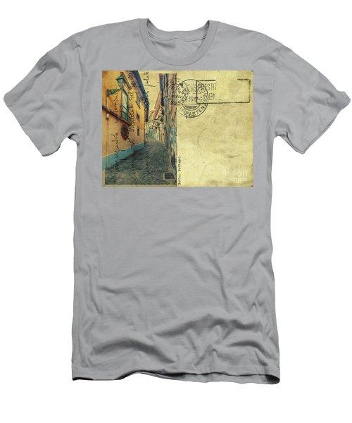 retro postcard of Porto, Portugal  Men's T-Shirt (Athletic Fit)