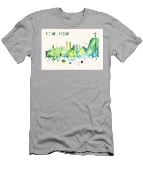 Rio De Janeiro Skyline Watercolor Poster - Cityscape Painting Artwork Men's T-Shirt (Athletic Fit)