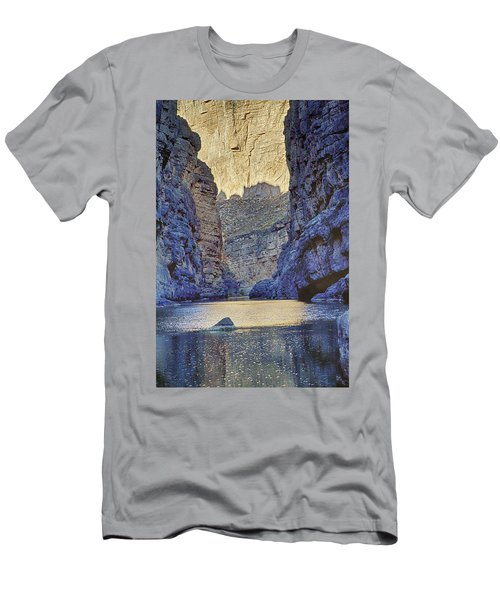 Men's T-Shirt (Slim Fit) featuring the tapestry - textile Rio Grand, Santa Elena Canyon Texas 2 by Kathy Adams Clark