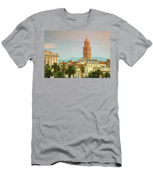 Riva Waterfront, Houses And Cathedral Of Saint Domnius, Dujam, D Men's T-Shirt (Slim Fit) by Elenarts - Elena Duvernay photo