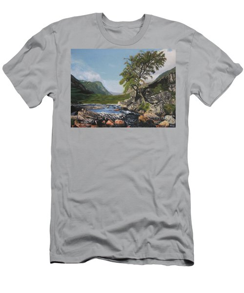 River Coe Scotland Oil On Canvas Men's T-Shirt (Athletic Fit)