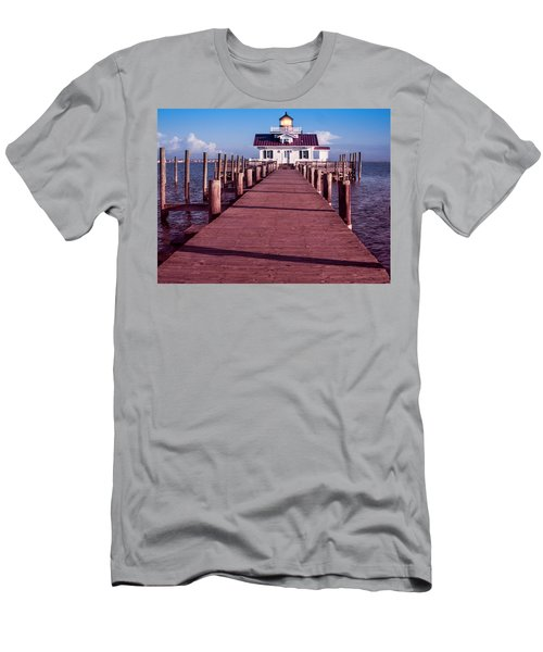 Men's T-Shirt (Athletic Fit) featuring the photograph Roanoke Marshes Lighthouse by Penny Lisowski