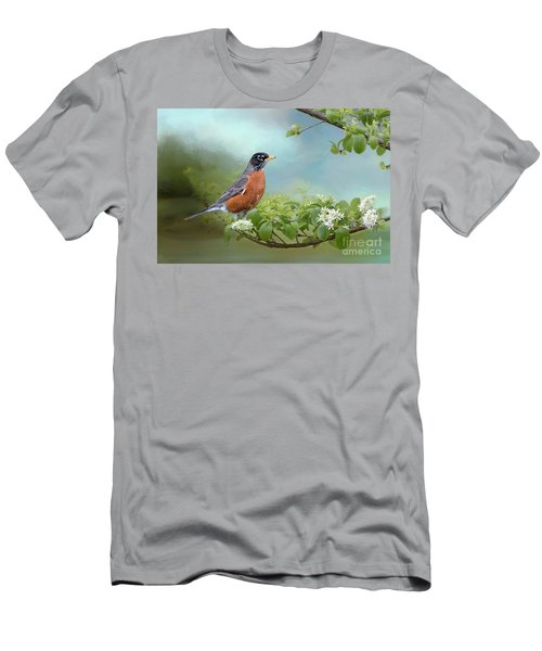 Men's T-Shirt (Slim Fit) featuring the photograph Robin In Chinese Fringe Tree by Bonnie Barry