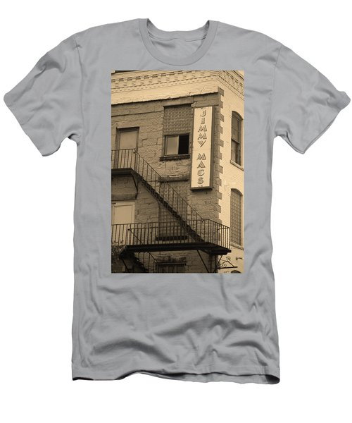 Men's T-Shirt (Slim Fit) featuring the photograph Rochester, New York - Jimmy Mac's Bar 2 Sepia by Frank Romeo