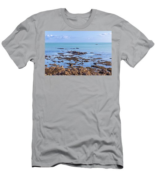 Men's T-Shirt (Slim Fit) featuring the photograph Rocks And Seaweed And Seagulls In The Irish Sea At Howth by Semmick Photo