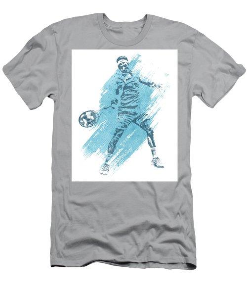 Roger Federer Tennis Water Color Art 3 Men's T-Shirt (Athletic Fit)