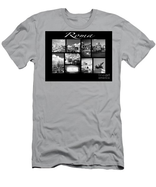 Roma Black And White Poster Men's T-Shirt (Athletic Fit)