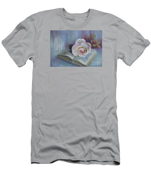 Men's T-Shirt (Slim Fit) featuring the painting Romantic Story by Elena Oleniuc