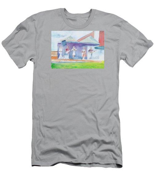 Roots Retreat Bluegrass Men's T-Shirt (Slim Fit) by David Sockrider