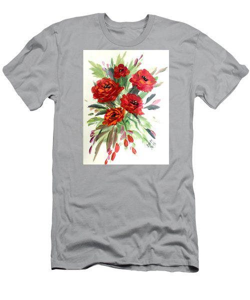 Men's T-Shirt (Slim Fit) featuring the painting Rose Love by Dorothy Maier