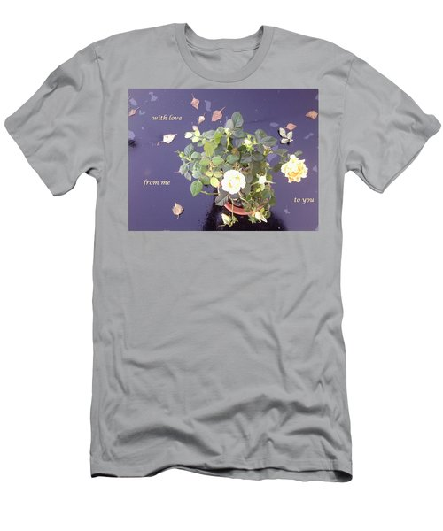 Rose On Glass Table With Loving Wishes Men's T-Shirt (Athletic Fit)