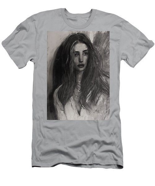 Men's T-Shirt (Slim Fit) featuring the painting Rosie Huntington-whiteley by Jarko Aka Lui Grande