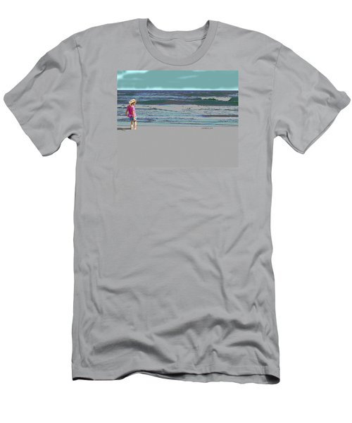 Rosie On The Beach Men's T-Shirt (Slim Fit) by Walter Chamberlain