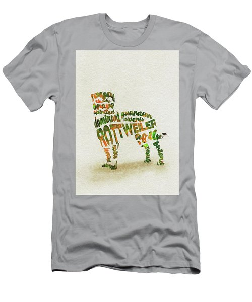 Men's T-Shirt (Athletic Fit) featuring the painting Rottweiler Dog Watercolor Painting / Typographic Art by Ayse and Deniz