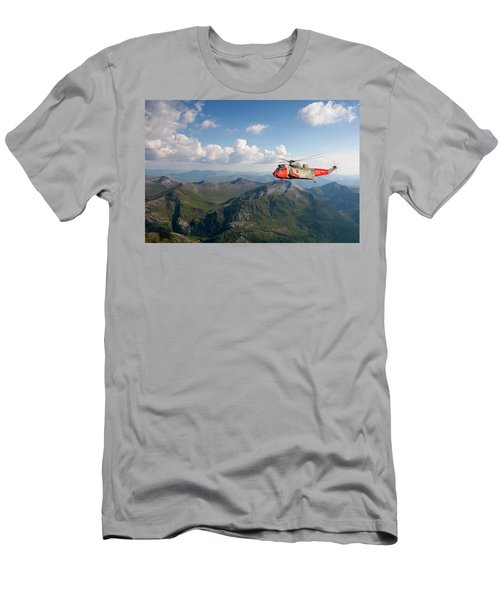Men's T-Shirt (Slim Fit) featuring the digital art Royal Navy Sar Sea King by Pat Speirs