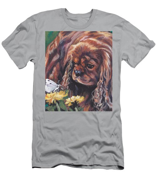 Men's T-Shirt (Slim Fit) featuring the painting Ruby Cavalier King Charles Spaniel by Lee Ann Shepard