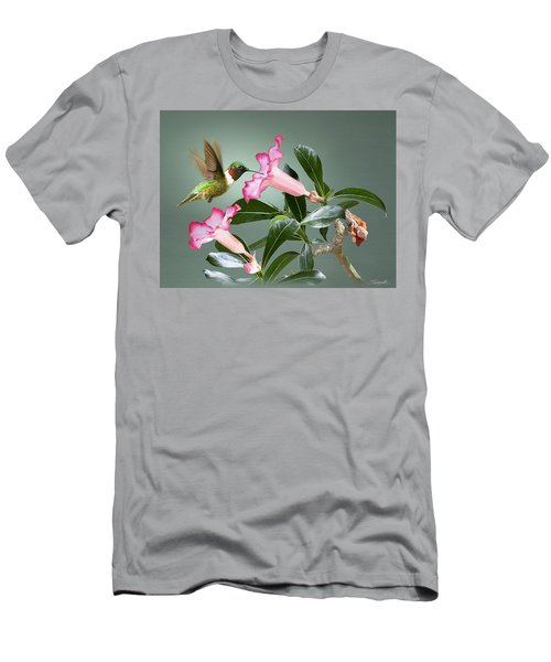 Ruby-throated Hummingbird And Desert Rose Men's T-Shirt (Athletic Fit)