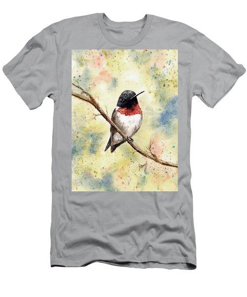 Ruby Throated Hummingbird Men's T-Shirt (Slim Fit) by Sam Sidders