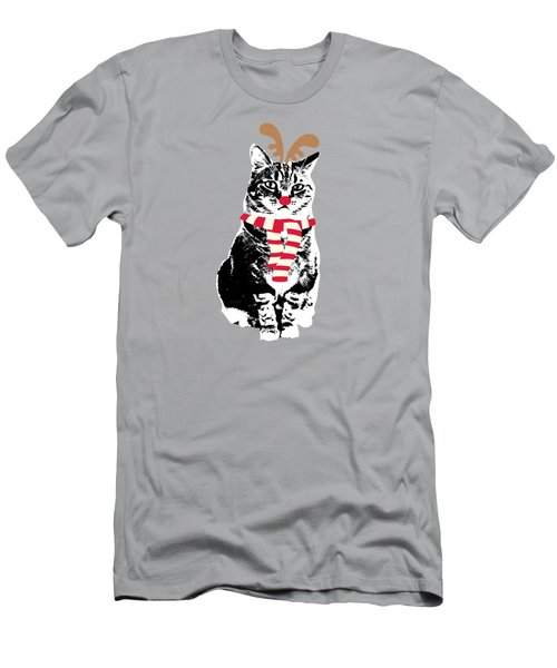 Men's T-Shirt (Slim Fit) featuring the mixed media Rudolph The Red Nosed Cat- Art By Linda Woods by Linda Woods