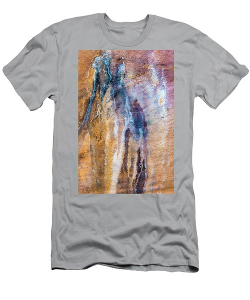 Men's T-Shirt (Slim Fit) featuring the photograph Runoff Abstract, Bhimbetka, 2016 by Hitendra SINKAR