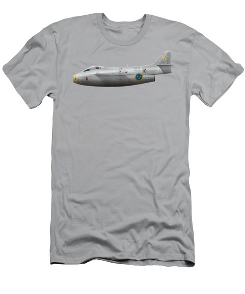 Saab J 29a Tunnan - 29670 - Side Profile View Men's T-Shirt (Athletic Fit)