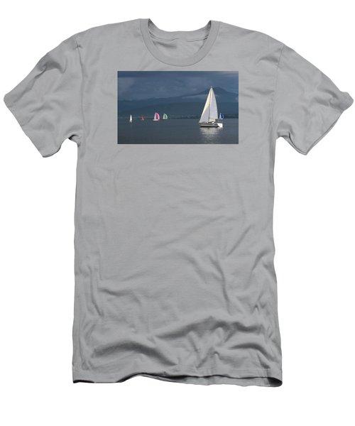 Sailing Boats By Stormy Weather, Geneva Lake, Switzerland Men's T-Shirt (Slim Fit) by Elenarts - Elena Duvernay photo