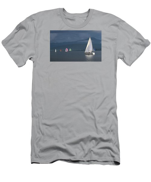 Sailing Boats By Stormy Weather, Geneva Lake, Switzerland Men's T-Shirt (Athletic Fit)