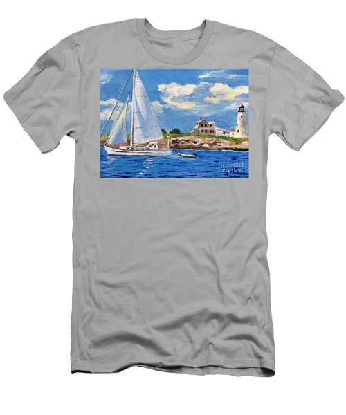Sailing Past Wood Island Lighthouse Men's T-Shirt (Athletic Fit)