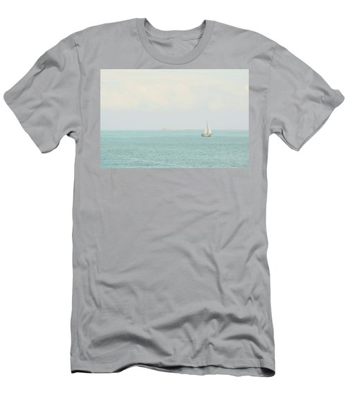 Men's T-Shirt (Athletic Fit) featuring the photograph Sailing The Ocean Blue by Deborah  Crew-Johnson