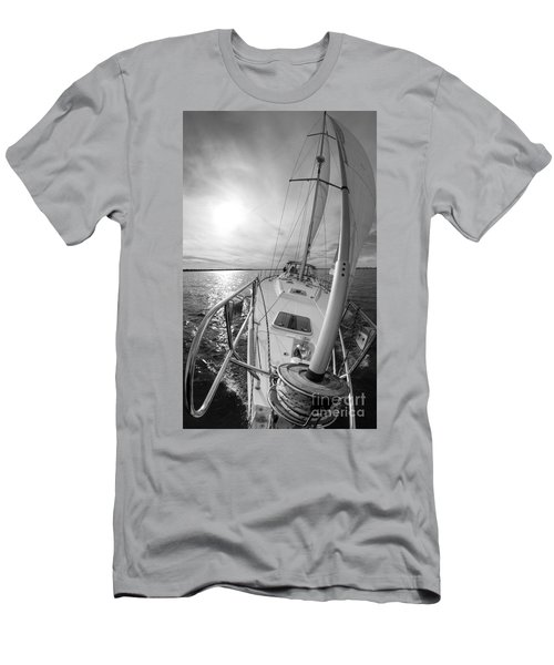 Sailing Yacht Fate Beneteau 49 Black And White Men's T-Shirt (Athletic Fit)