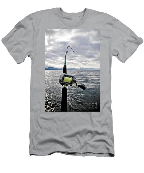 Salmon Fishing Rod Men's T-Shirt (Slim Fit) by Darcy Michaelchuk