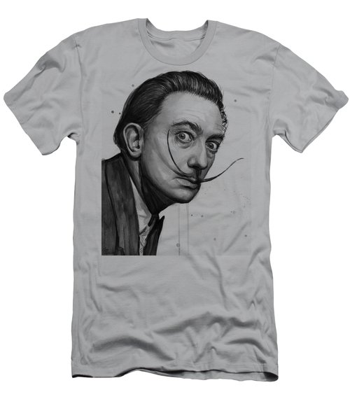 Salvador Dali Portrait Black And White Watercolor Men's T-Shirt (Athletic Fit)