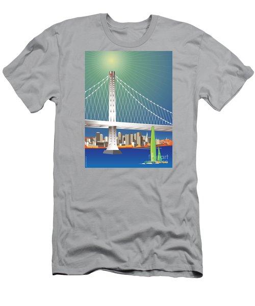 San Francisco New Oakland Bay Bridge Cityscape Men's T-Shirt (Athletic Fit)