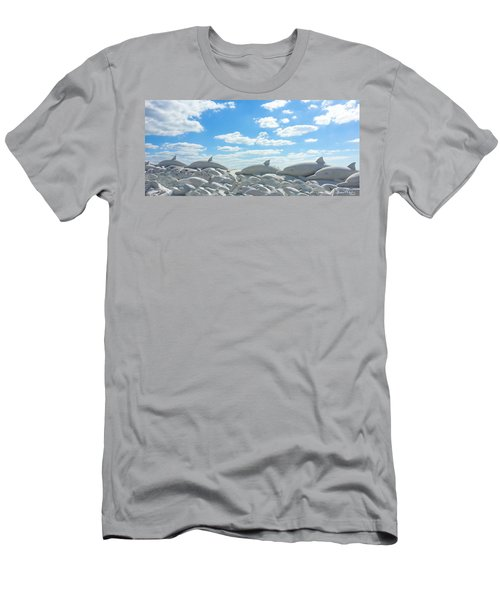Sand Dolphins At Siesta Key Beach Men's T-Shirt (Athletic Fit)
