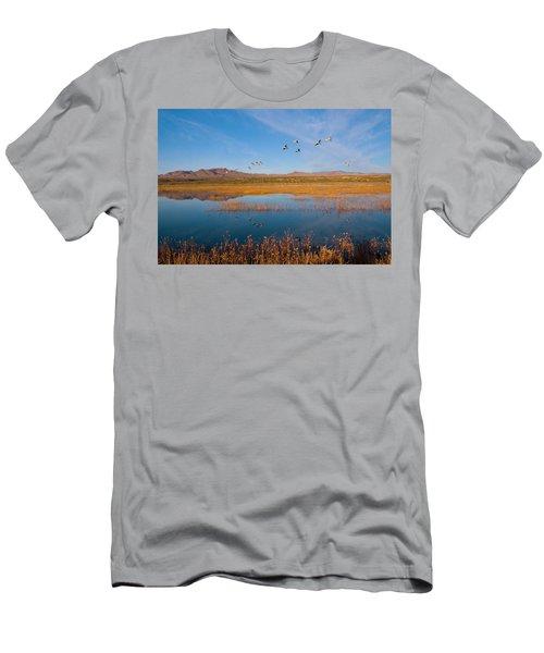 Sandhill Cranes In Flight Men's T-Shirt (Athletic Fit)