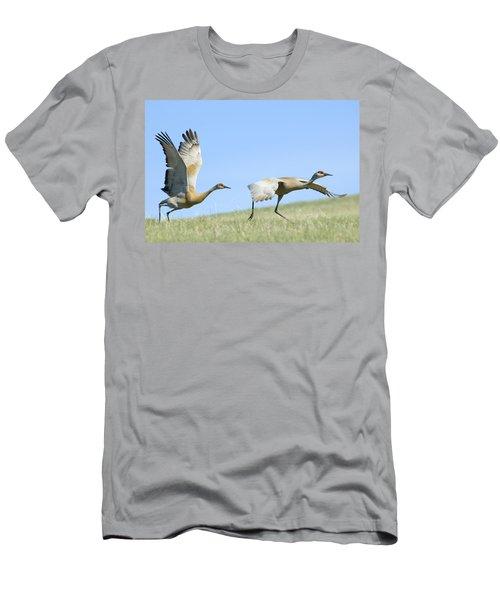 Sandhill Cranes Taking Flight Men's T-Shirt (Athletic Fit)