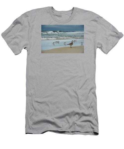 Sandpiper Beach Men's T-Shirt (Slim Fit) by Renee Hardison
