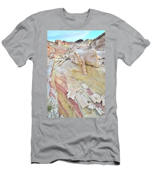 Sandstone Rainbow In Valley Of Fire Men's T-Shirt (Slim Fit) by Ray Mathis
