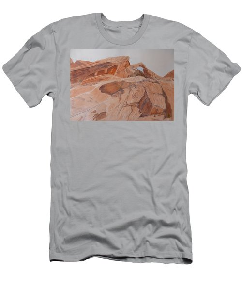 Men's T-Shirt (Athletic Fit) featuring the painting Sandstone Rainbow by Joel Deutsch