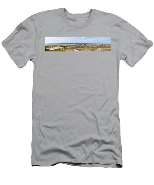 Sandy Neck Lighthouse With Fishing Boat Men's T-Shirt (Athletic Fit)